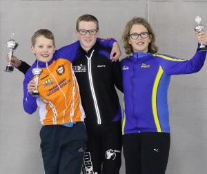 Martijn Weber (midden), op het podium als Zuid-Nederlands Kampioen (foto Henk Haans).