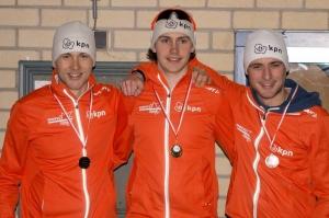 Thomas van Dijk (midden), Kampioen Sprint (foto Barend Princen)